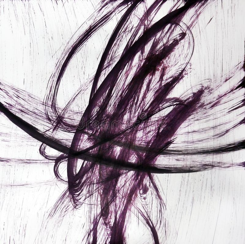 Das Format des Blattes wird mit vibrierenden Linien gefüllt, die in einer choatistic Art schneiden stockbilder