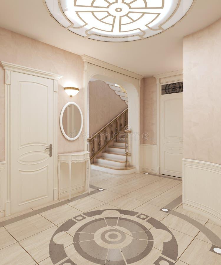 Das Foyer ist in der klassischen Art, mit einem Marmorboden und beige hölzernen Quadraten auf den Wänden Eingebaute Deckenleuchte vektor abbildung