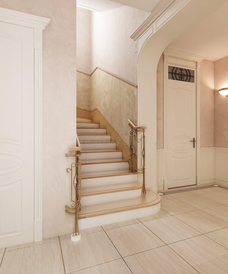 Das Foyer ist in der klassischen Art, mit einem Marmorboden und einem beige w vektor abbildung