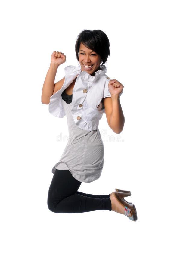 Das Frauen-Springen stockbilder
