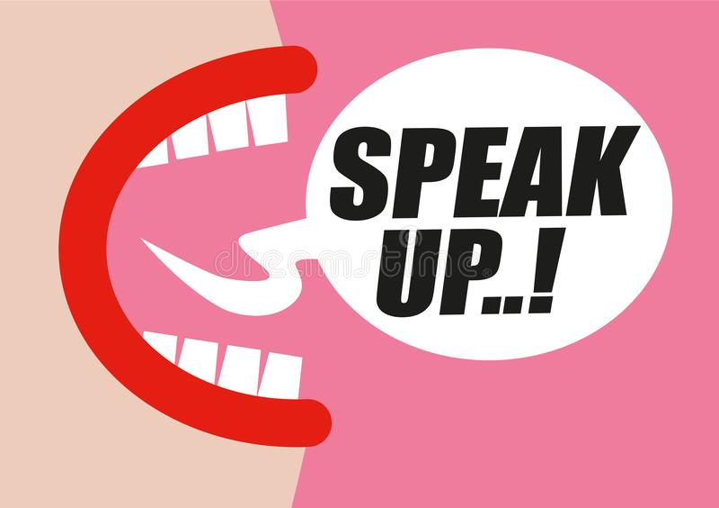 Das Frauenschreien SPRECHEN OBEN in der Wortblase - protestierend für Rechte von Frauen, von Gleichheit und von ungeeignetem sexu vektor abbildung
