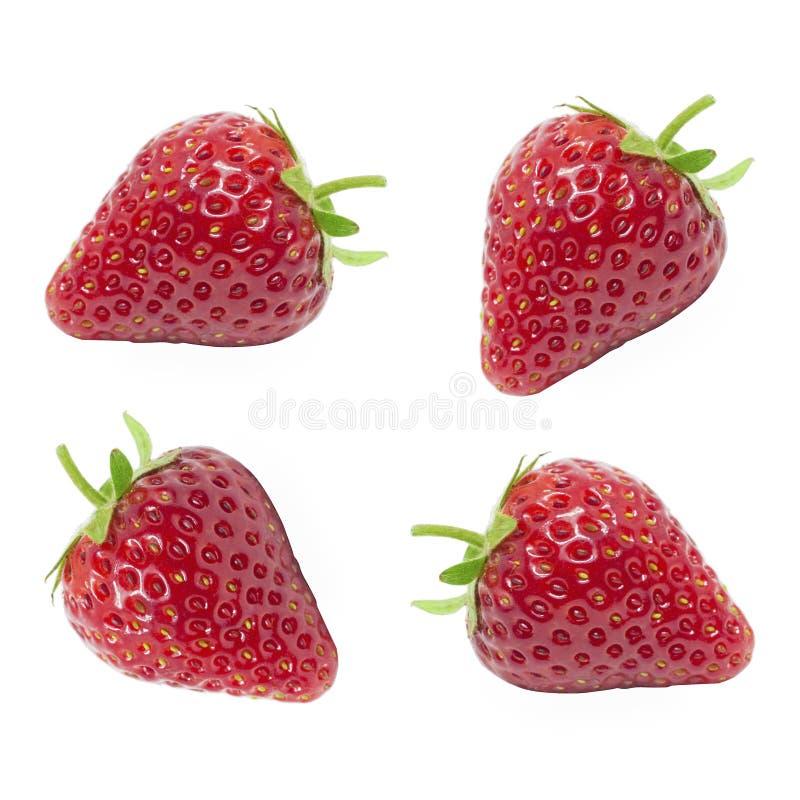 Das frische saftige der roten Erdbeere des Satzes lokalisiert auf weißem Hintergrund stockbild