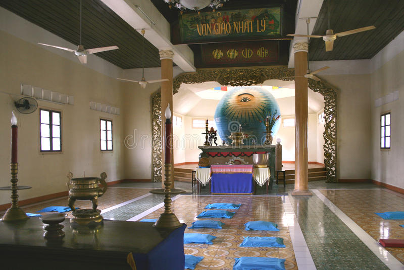 Das göttliche Auge in Cao Dai-Tempel in der Da Nang-Stadt, Vietnam lizenzfreies stockfoto