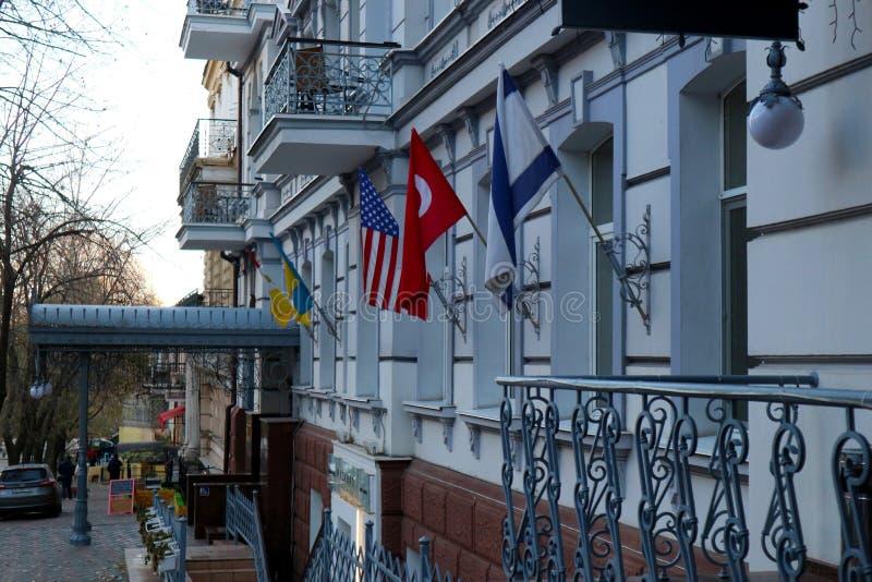Das Gebäude eines internationalen Vereins in der Stadt von Odessa stockfoto