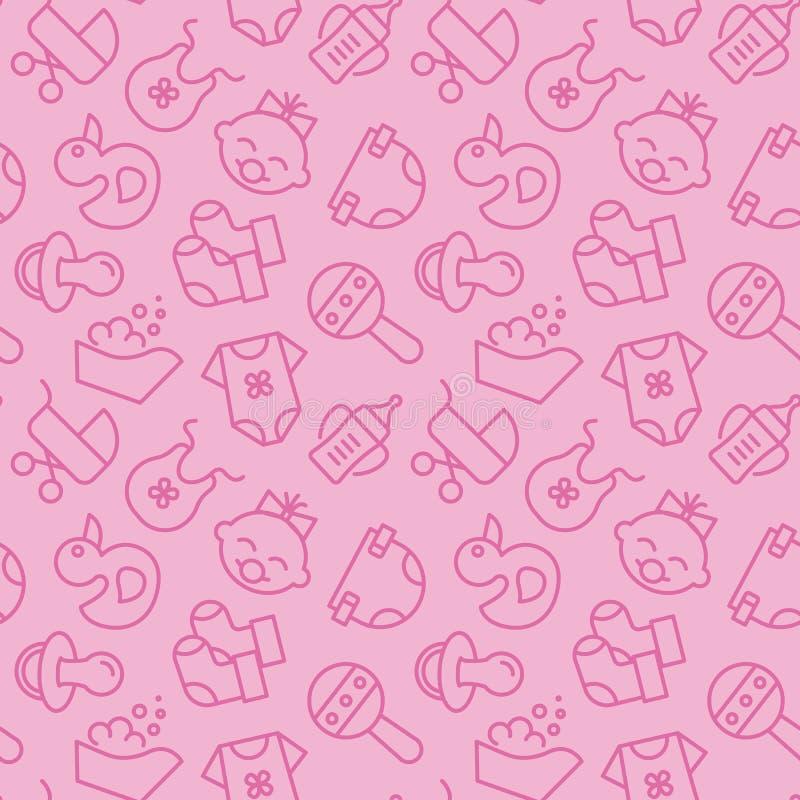 Das geborene Baby bezog sich rosa nahtloses Muster - umreißen Sie Ikonen von neugeborenen Zubehörelementen im netten Hintergrund vektor abbildung