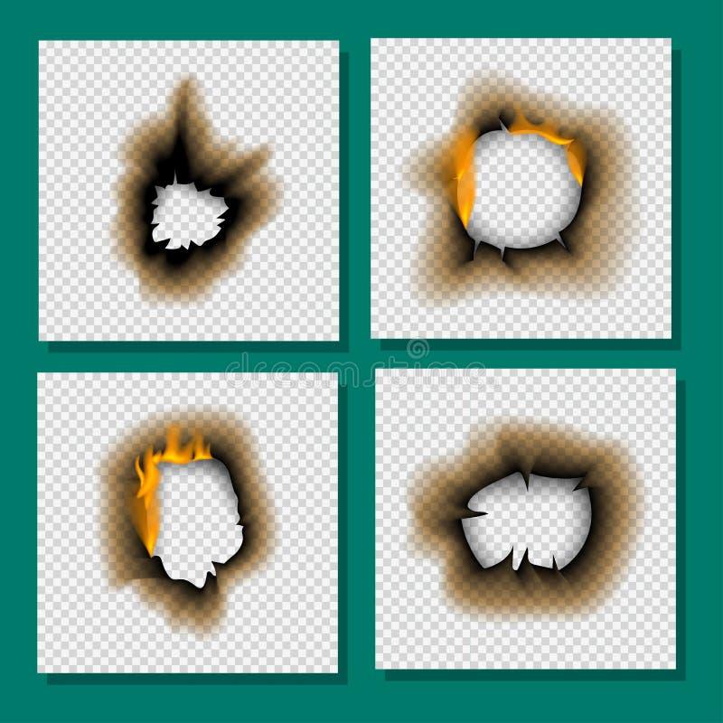Das gebrannte gebrannte Stück verblaßte Papiervektorillustration der Seite des Feuers des lochs realistische Flamme lokalisierte  lizenzfreie abbildung
