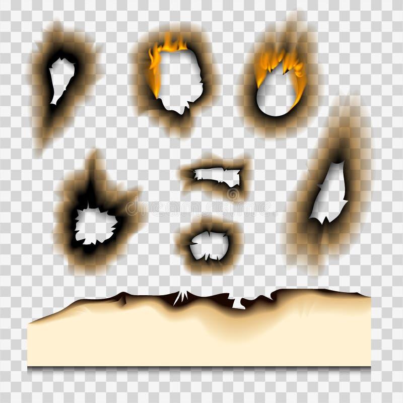 Das gebrannte gebrannte Stück verblaßte Papiervektorillustration der Seite des Feuers des lochs realistische Flamme lokalisierte  vektor abbildung