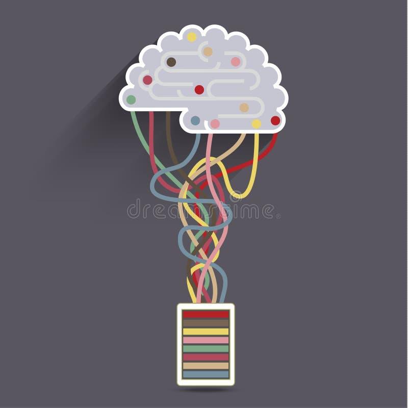 Das Gehirn wird an das Netz angeschlossen stock abbildung