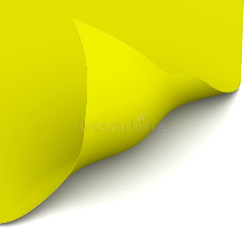 Das gelbe Blatt hat verbogen der Ecke stock abbildung
