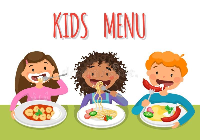 Das genießende gesunde Mittagessen der schöne Kinder in der Cafeteria vektor abbildung