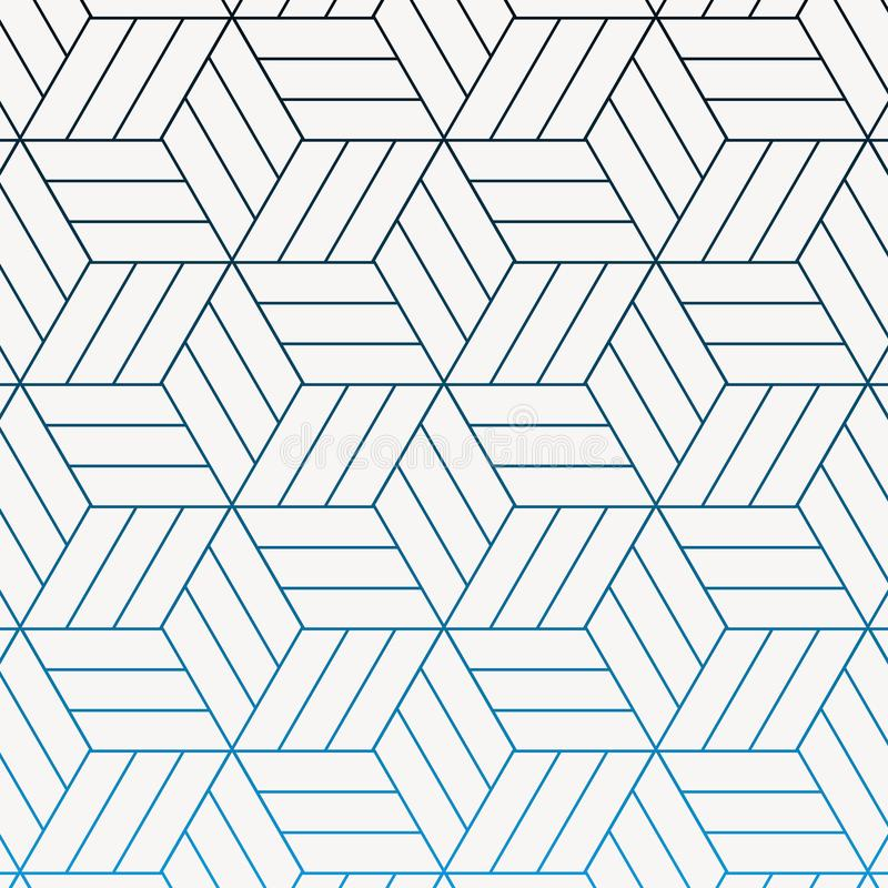 Das geometrische Vektormuster, lineare Streifenrautenform wiederholend schloss jedes, Zusammenfassungsstern, Blume, Würfel an lizenzfreie abbildung