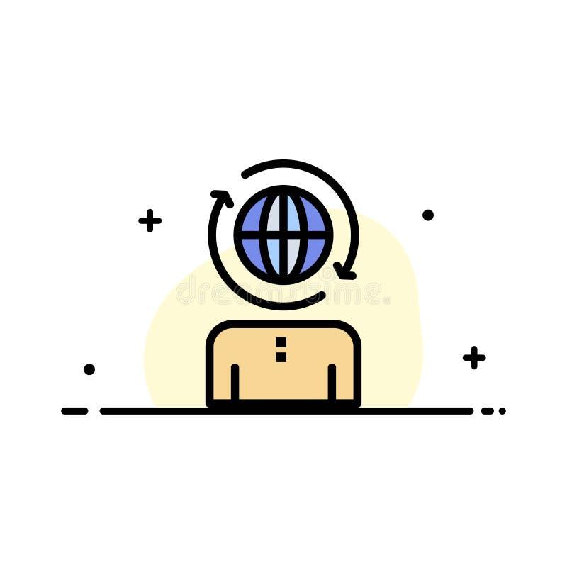 Das Geschäft, global, Management, modernes Geschäfts-flache Linie füllte Ikonen-Vektor-Fahnen-Schablone vektor abbildung