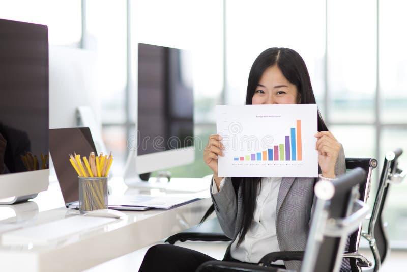 Das Geschäftsfraugefühl, das glücklich sind und der Stolz, wenn sie Verkäufe zeigen, stellen tha grafisch dar stockfotos
