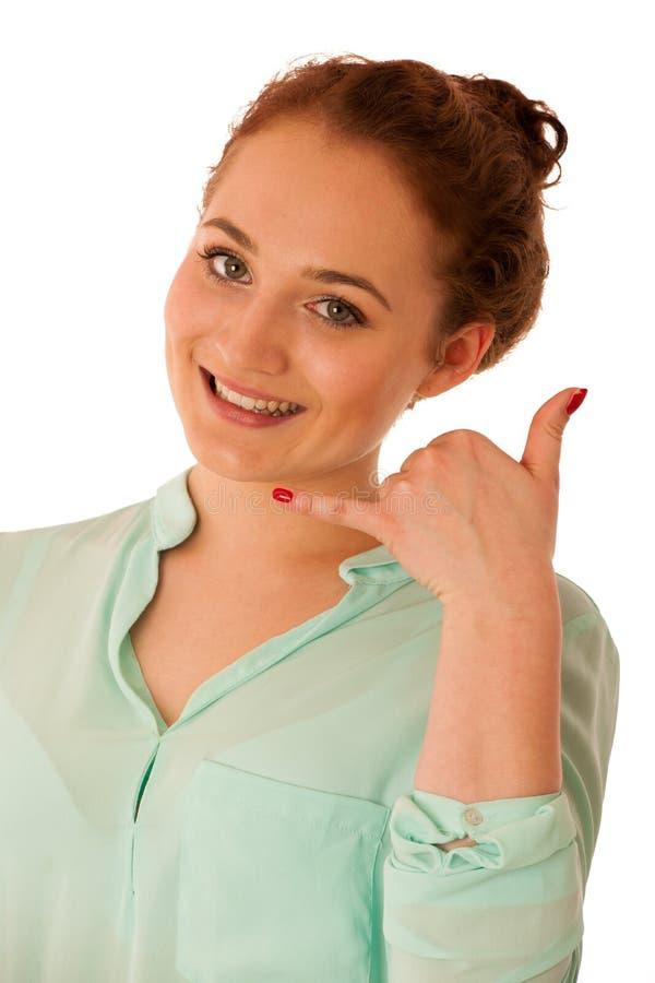 Das Geschäftsfraugestikulieren rufen mich Zeichen mit ihrem Hand lokalisierten ove an stockfotos