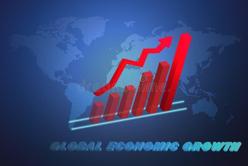 Das Geschäftskonzept der globalen Wirtschaftlichkeit mit Wachstumstabelle 3D stock abbildung