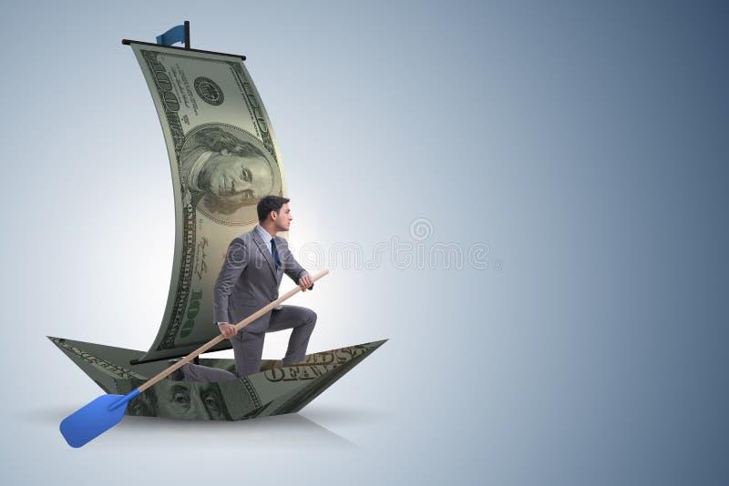 Das Geschäftsmannrudersport auf Dollarboot im Geschäftsfinanzkonzept lizenzfreies stockbild