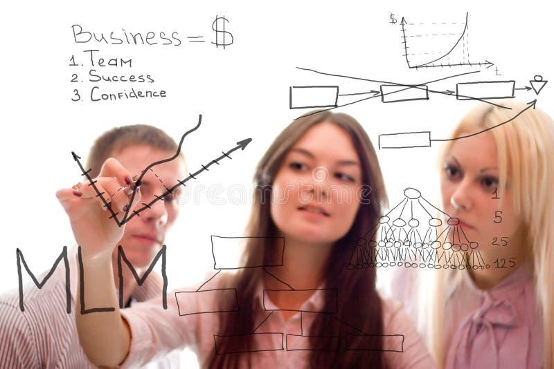 Das Geschäftsteam schreiben Vermarktungsplan von mlm stockfotos