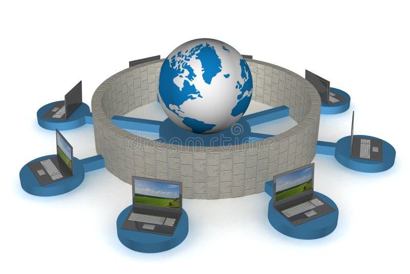 Das geschützte Gesamt-Netzwerk das Internet. vektor abbildung