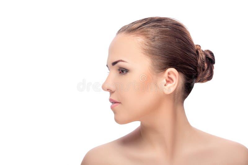 Das Gesicht der Frau mit Make-up stockfoto