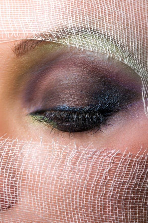 Das Gesicht der Frau mit schönen grünen Augen stockfoto