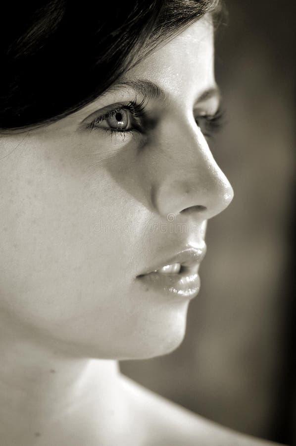 Das Gesicht des herrlichen jungen Brunettemädchens in Schwarzweiss stockbilder