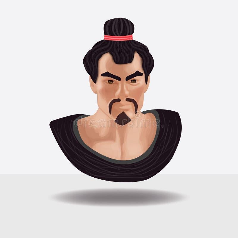 Das Gesicht des Samuraivektors stockfotos
