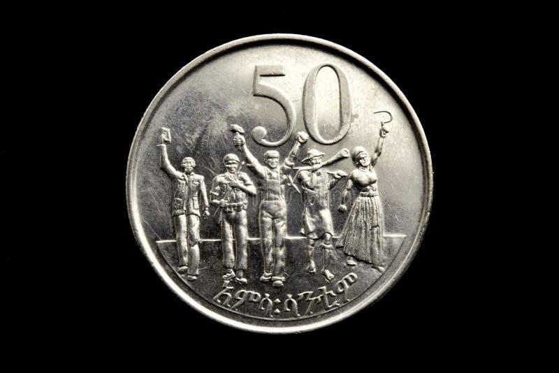 Das Gesicht einer fünfzig-Cent-äthiopischen Münze lizenzfreie stockfotografie