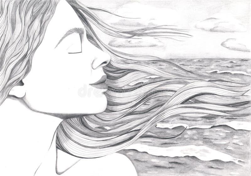 Das Gesicht einer Frau auf dem Hintergrund eines Ozeans stock abbildung