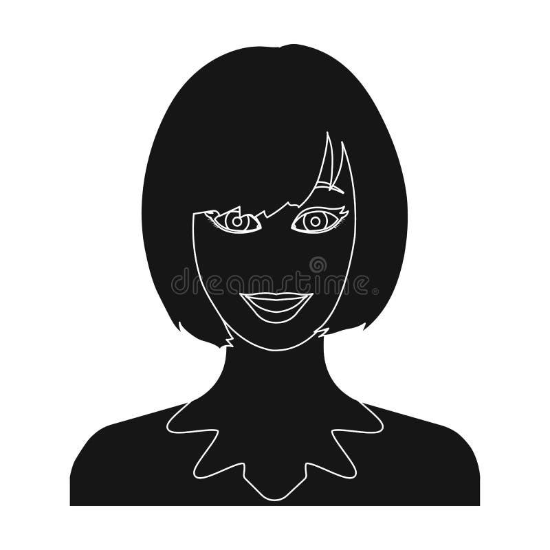 Das Gesicht einer Frau mit einer Frisur stock abbildung