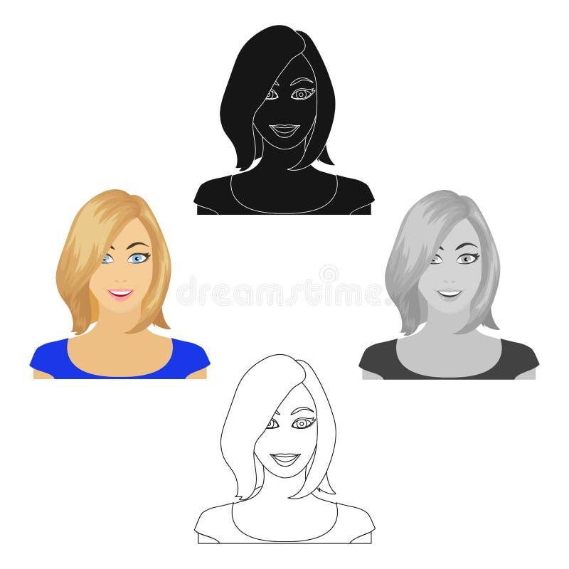 Das Gesicht einer Frau mit einer Frisur Gesicht und einzelne Ikone des Auftrittes in der Karikatur reden Vektorsymbolvorrat-Illus lizenzfreie abbildung