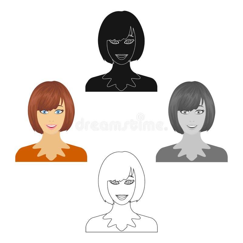 Das Gesicht einer Frau mit einer Frisur Gesicht und einzelne Ikone des Auftrittes in der Karikatur reden Vektorsymbolvorrat-Illus stock abbildung