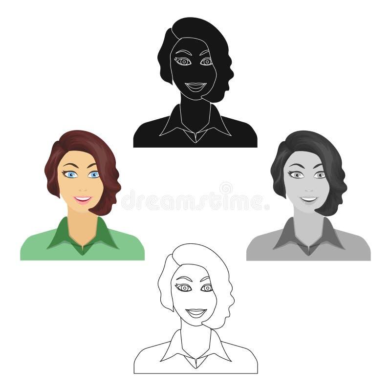 Das Gesicht einer Frau mit einer Frisur Gesicht und einzelne Ikone des Auftrittes in der Karikatur, schwarzer Artvektor-Symbolvor lizenzfreie abbildung