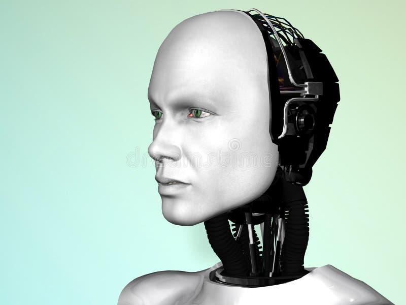 Das Gesicht eines Robotermannes. lizenzfreie abbildung