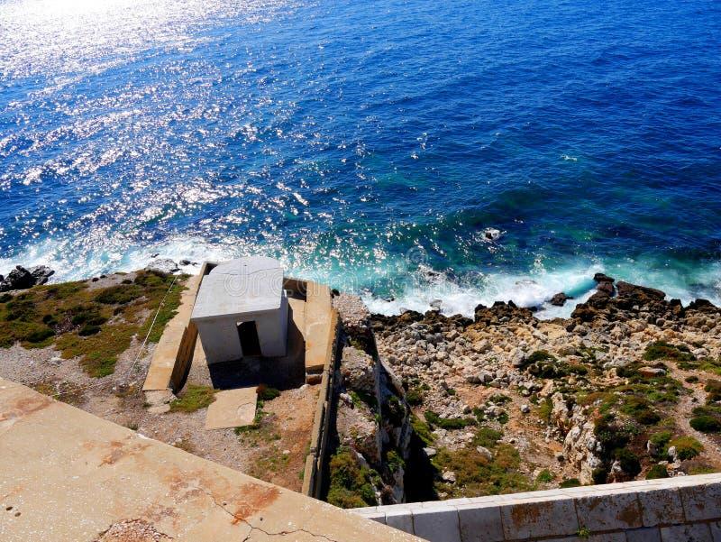 Das Gewehr am Europa-Punkt ist die erste Verteidigungslinie auf dem Felsen von Gibraltar lizenzfreie stockbilder