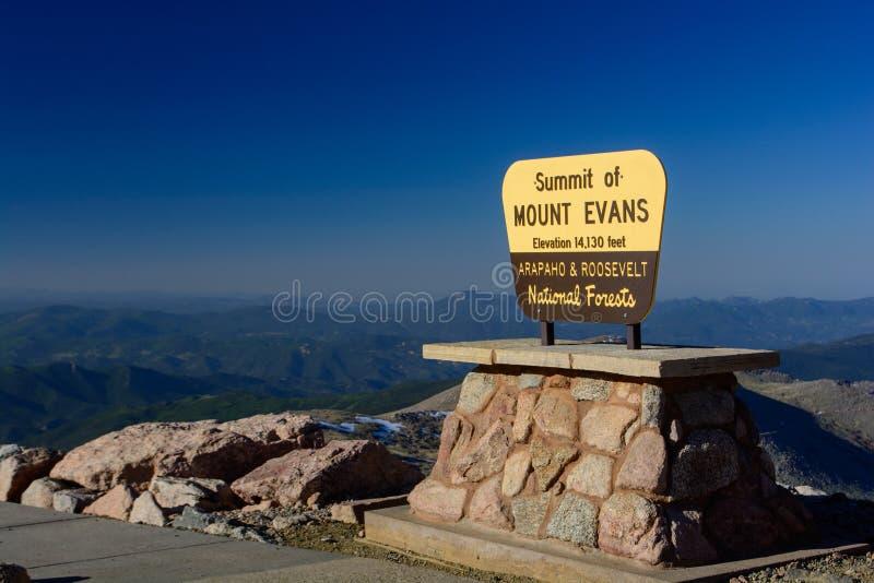 Das Gipfel von Mt Evans im Colorado Rocky Mountains stockfotografie