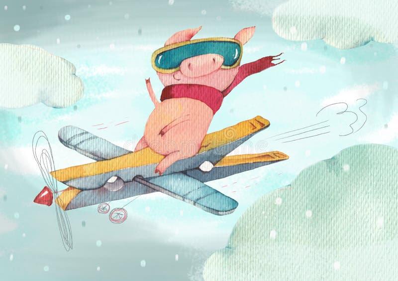 Das glückliche kleine Schwein fliegt auf das selbst gemacht Flugzeug lizenzfreie abbildung