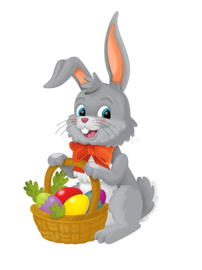 Das glückliche Ostern-Kaninchen mit Korb voll von Eiern auf weißem Hintergrund stock abbildung