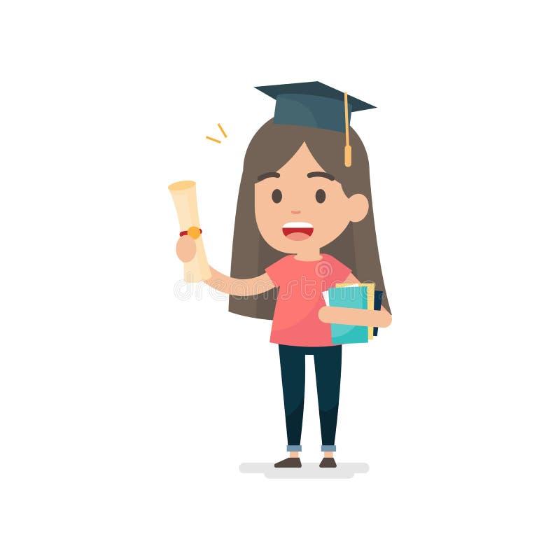 Das glückliche Studentenmädchen, das Bücher hält, erhalten Grad, Staffelung educatio vektor abbildung