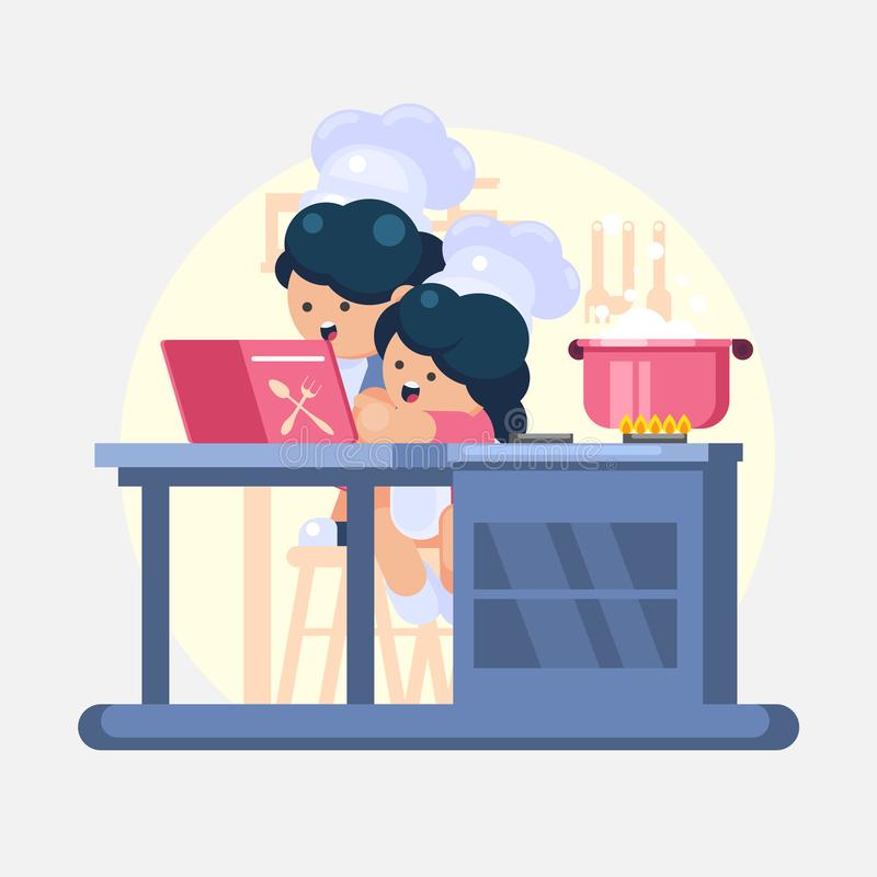 Das glückliche wenig lustige helfende Kochen des Mädchen-und Junge Kochchefs in der Küche studiert eine bunte Illustration Kochbu stock abbildung