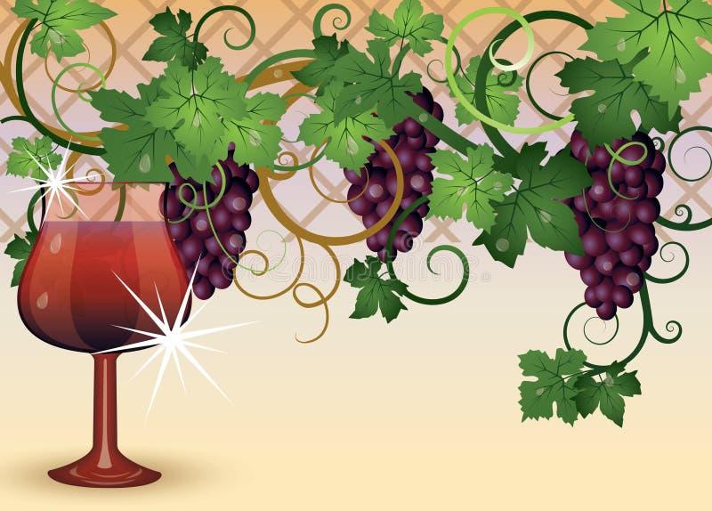 Das Glas des Rotweins und der Trauben stock abbildung