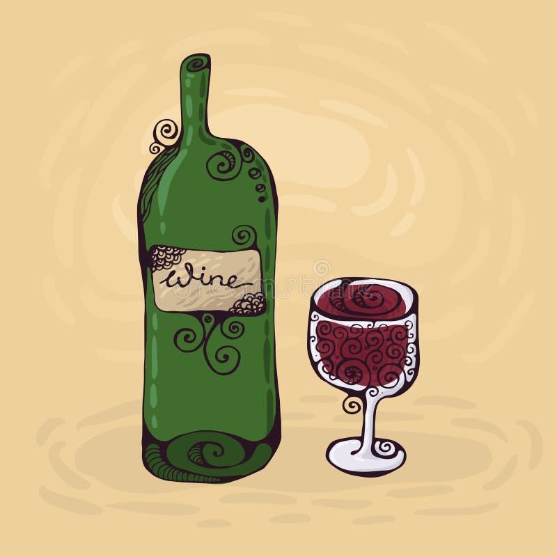 Das Glas und die Flasche des Weins lizenzfreie abbildung