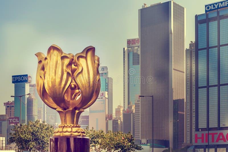 Das goldene Bauhinia-Quadrat, Wan Chai, Hong Kong, China stockbilder