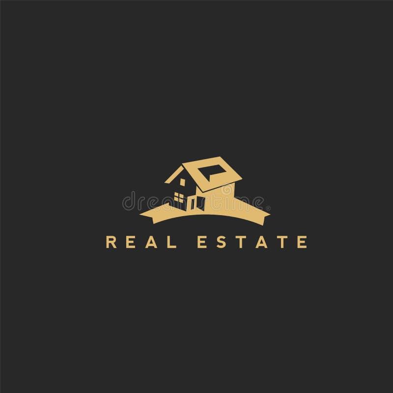 Das goldene Haus auf dem blackbackground lizenzfreie abbildung