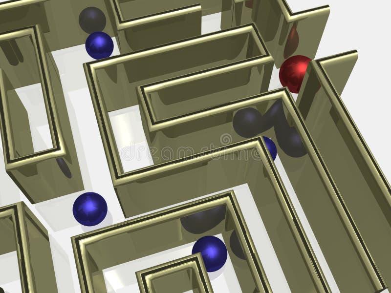 Das Goldlabyrinth mit Reflexion. vektor abbildung