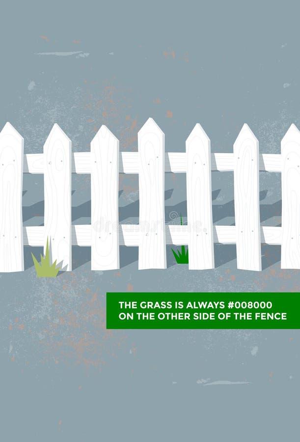 Das Gras ist immer #008000 auf der anderen Seite des Zauns lizenzfreies stockbild