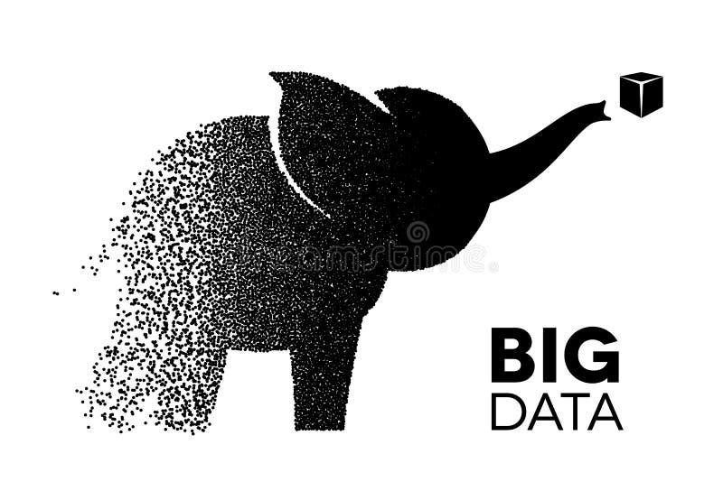 Das große Datenelefantsymbol, das von den chaotischen Gruppen gemacht wurde, sammelte, um zu analysieren stock abbildung