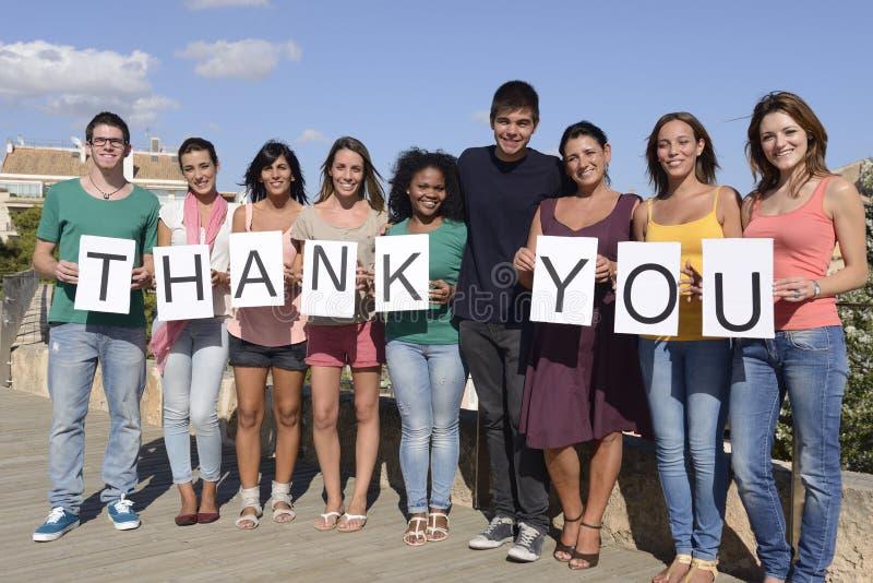 Das Gruppe von Personenensagen danken stockfoto