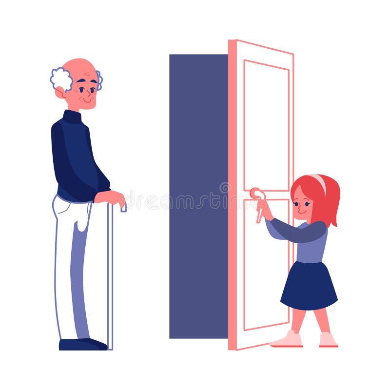 Das höfliche Mädchen, welches die Tür zu einer flachen Illustration Vektor des älteren Mannes öffnet, lokalisierte lizenzfreie abbildung