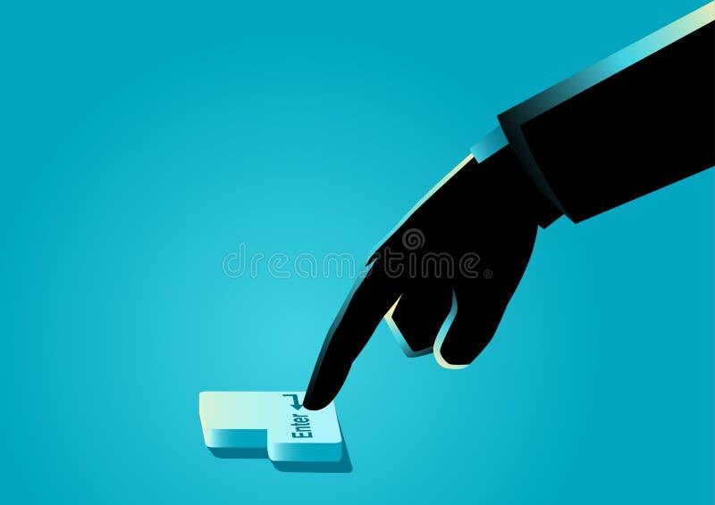 Das Handpressen kommen Taste stock abbildung