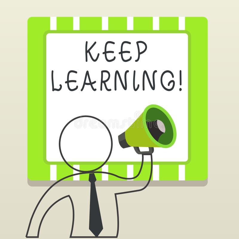 Das Handschriftstextschreiben halten zu lernen Langes und selfmotivated Streben Konzeptbedeutung Lebens nach Wissen und Ideen lizenzfreie abbildung